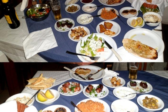 Ciprus - A ciprusi mezével megrakott asztal